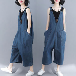 Women-Casual-Loose-Denim-Jumpsuit-Overalls-Wide-Leg-Cropped-Pants-Trousers-Jeans