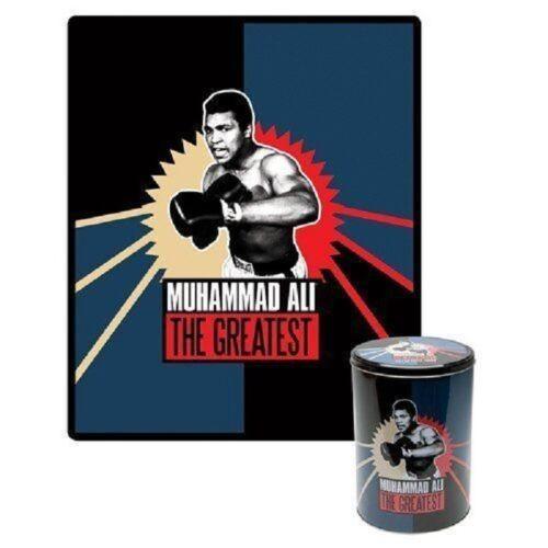 Brand New Muhammad Ali Collectors Tin Fleece Throw Blanket Gift Set Boxing NIP