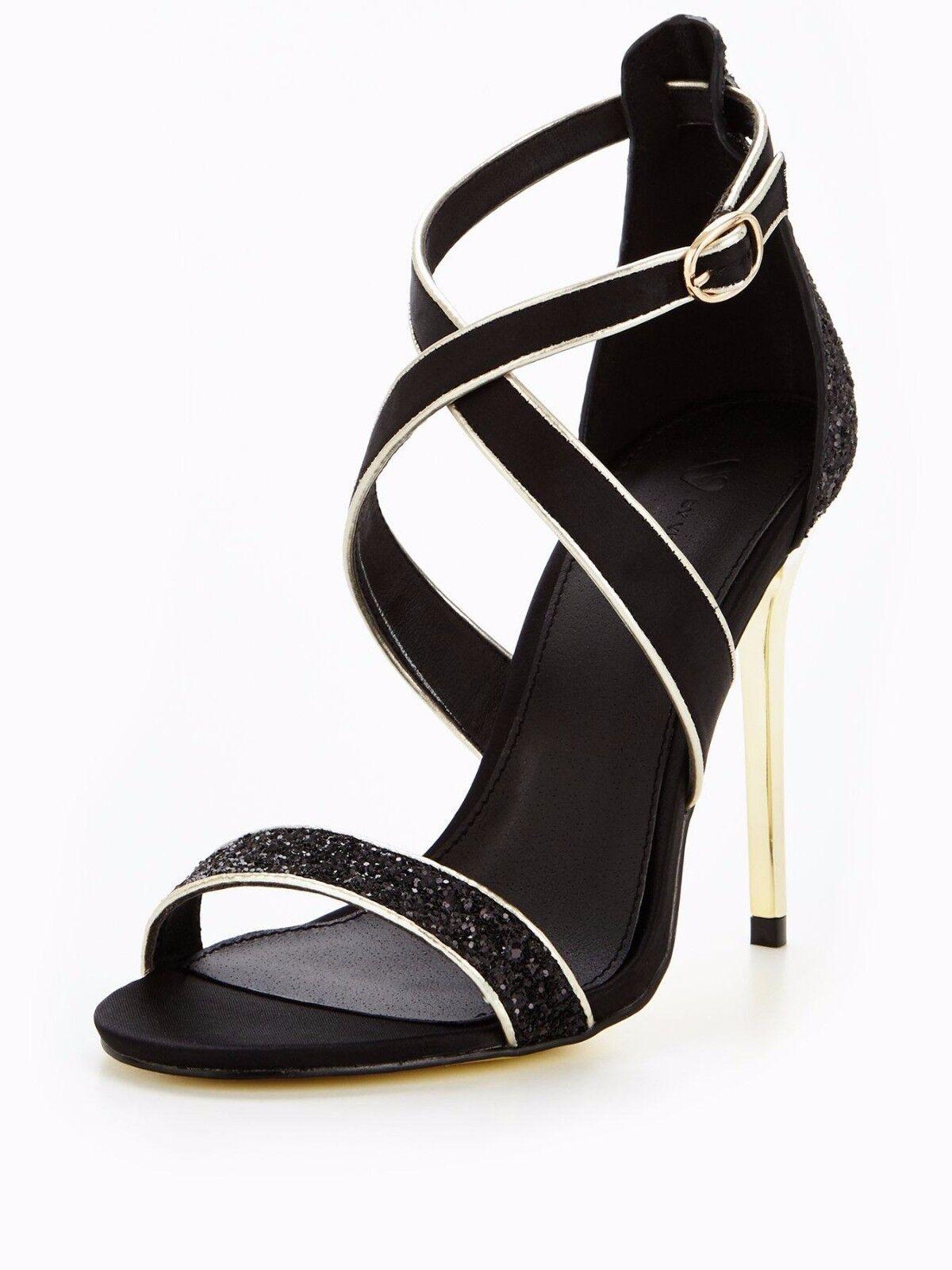 Macy Wide Fit Glitter Heeled Sandal - Black UK 5 EU 38 JS43 74 SALEs