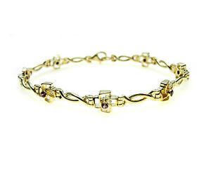 9ct-Gold-Bracelet-set-with-purple-Rhodanite-Garnet-stones-GREAT-VALUE