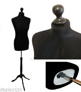 DELUXE Size 14 Female Dressmakers Dummy Mannequin Tailor BLACK Bust ROSE Stand