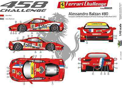 FFSMC Productions Decalcomanie 1//43 Ferrari F-458 Challenge 2012 Alessandro