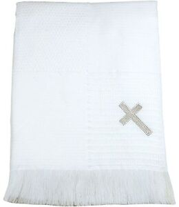 Baby shawl blanket wrap christening boy girl white baptism  deluxe