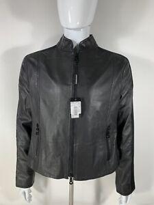 Authentic-Emporio-Armani-Italian-Leather-Jacket-Two-Textured-Men-s-56-Black