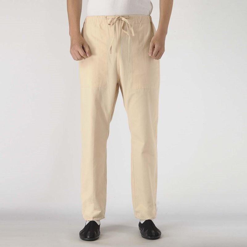 Mens Retro Linen Cotton Trousers Pants Outwear Loose Straight Leg Drawstring new