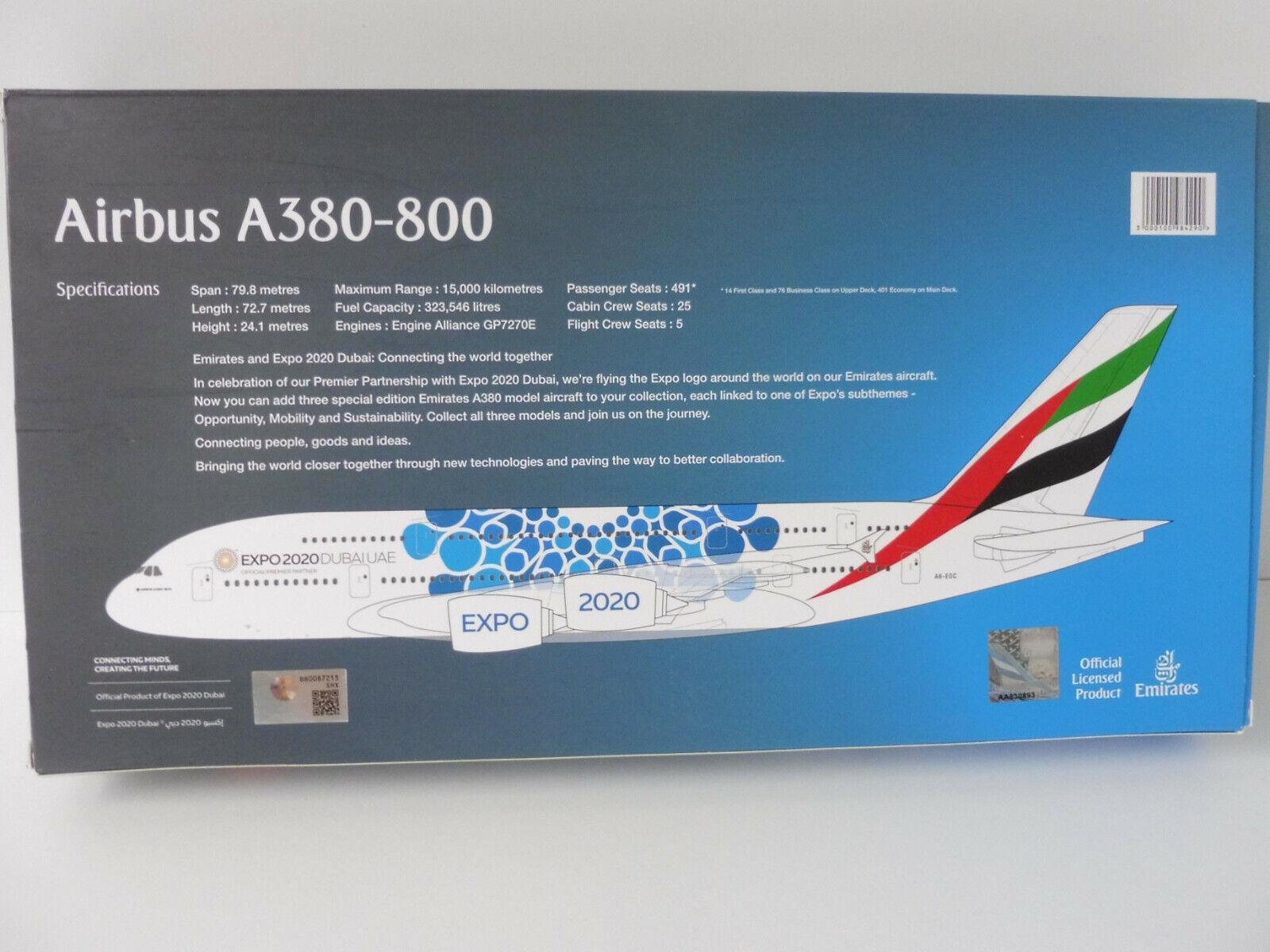 Emirats Arabes Expo 2020 Bleu Airbus de A380-800 1 250 Herpa Snap Fit Exclusif