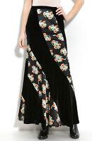 Free People Twisted Velvet/satin Maxi Dress Skirt Black/floral 2