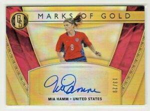 """Mia Hamm 2019 Panini Gold Standard Soccer """"FINE"""" Auto/Autograph #13/29"""