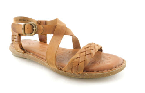 BORN Size 8 Natural Leather Ankle Strap Sandals Sh