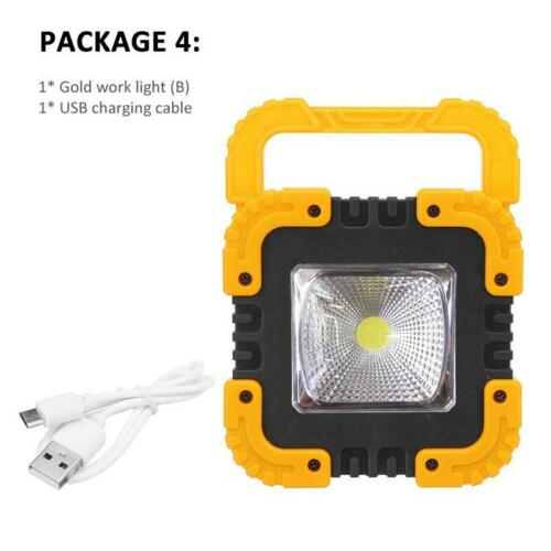 USB Rechargeable Solar LED COB Work Light Camping Emergency Lamp Floodlight 2019
