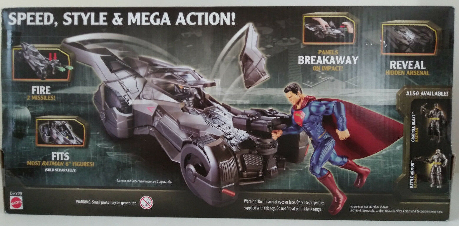 Batman Batman Batman Batmobile Superhero Unlimited  Action Figure DC Comics Movie Mattel Car 14e101