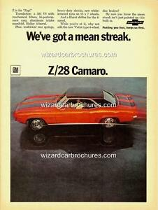 1969 CHEVROLET CHEV CAMARO Z/28 A3 POSTER AD ADVERT ADVERTISEMENT SALES BROCHURE