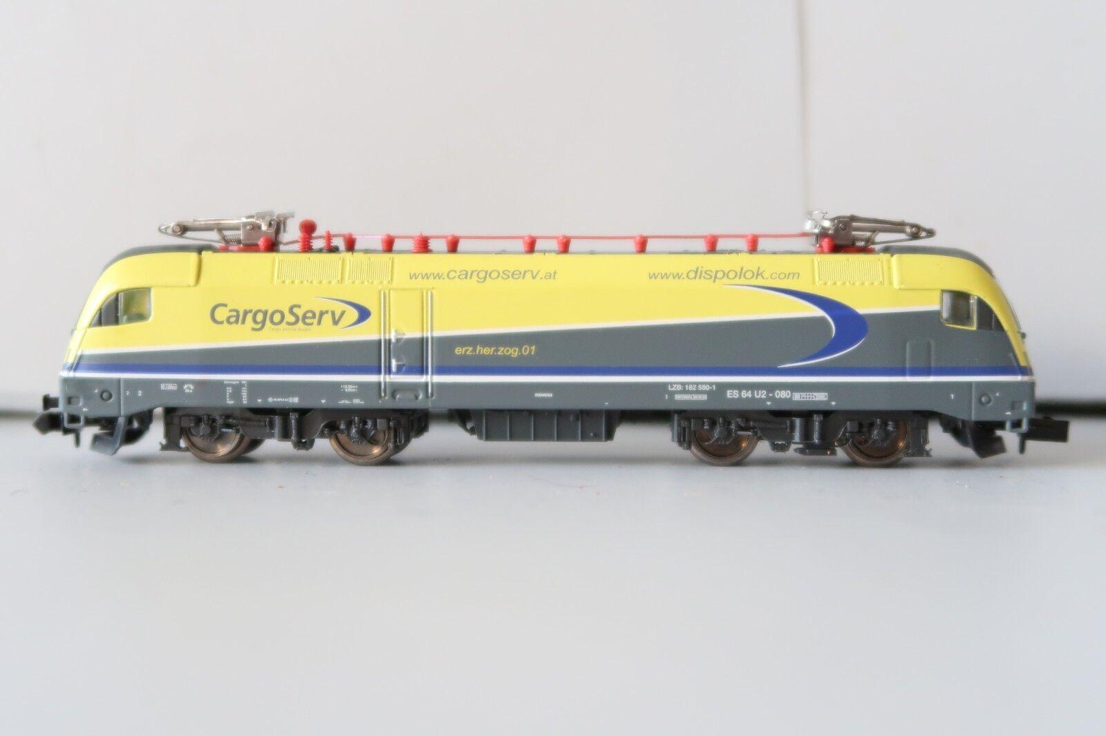 Minitrix n 12765 e-Lok dispolok br es 64 u2-080  cargo Serv  (ds042-59s4 8)