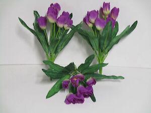 Das Bild Wird Geladen Dekoration Tulpen 3 X Tulpenbusch Lila Blumen  Floristik