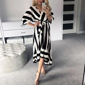 Women-Summer-Stripe-Boho-Beach-Dresses-Long-Maxi-Dress-Asymmetry-Ruffles-Hem