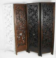 4 Panel Hand Carved Indian Stag Deer Screen Wooden Screen Room Divider 176x184cm