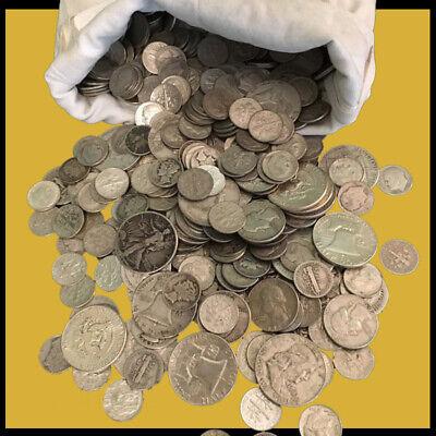 MIXED CIRCULATED HALVES $1 FACE VALUE U.S QUARTERS DIMES 90/% SILVER COINS