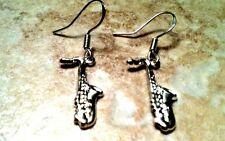 SAXOPHONE EARRINGS, 925 Sterling Silver Hooks, music band instrument brass