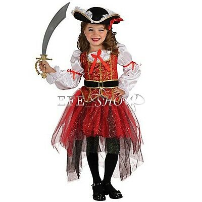 Girls Princess Of The Seas Pirate Fancy Dress Costume & Hat Child Kids Outfit