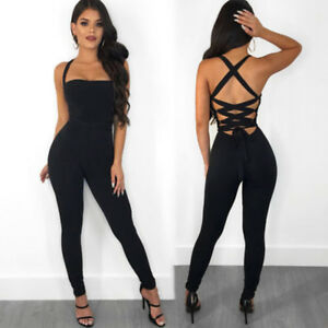08bd42252c4 UK New Ladies Womens Sexy Bandage Jumpsuit Party Club Bodycon Romper ...