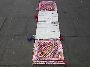 Old-Hand-Made-Persian-Oriental-wool-Red-Pink-Colourful-kilim-Runner-200x55cm