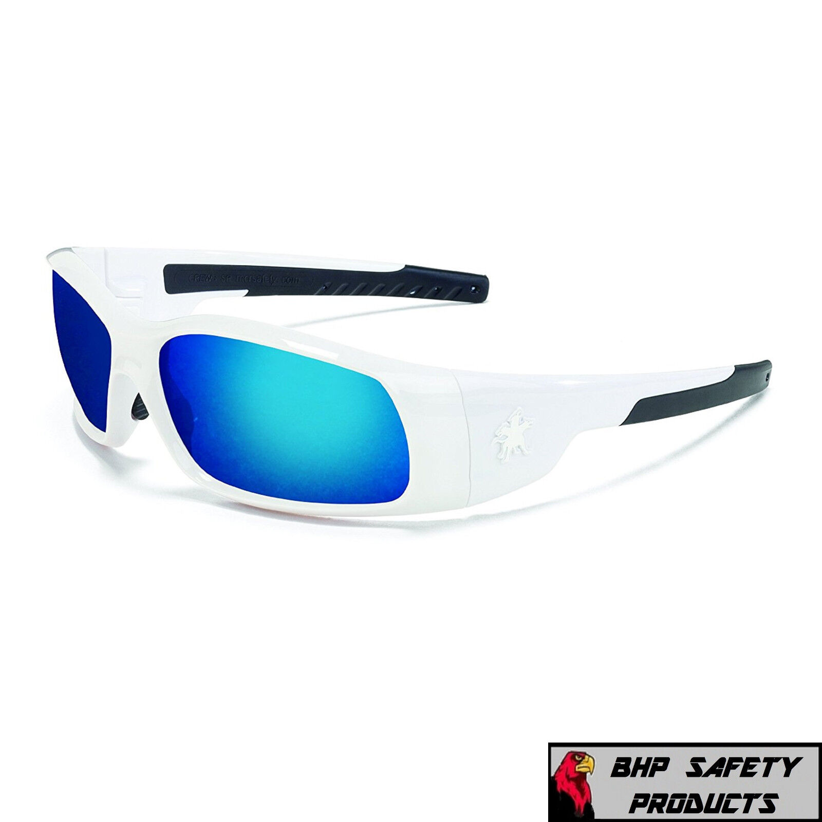 dc3201a1bd1 Crews Swagger White Frame Blue Mirror Lens Safety Glasses Sunglasses ...