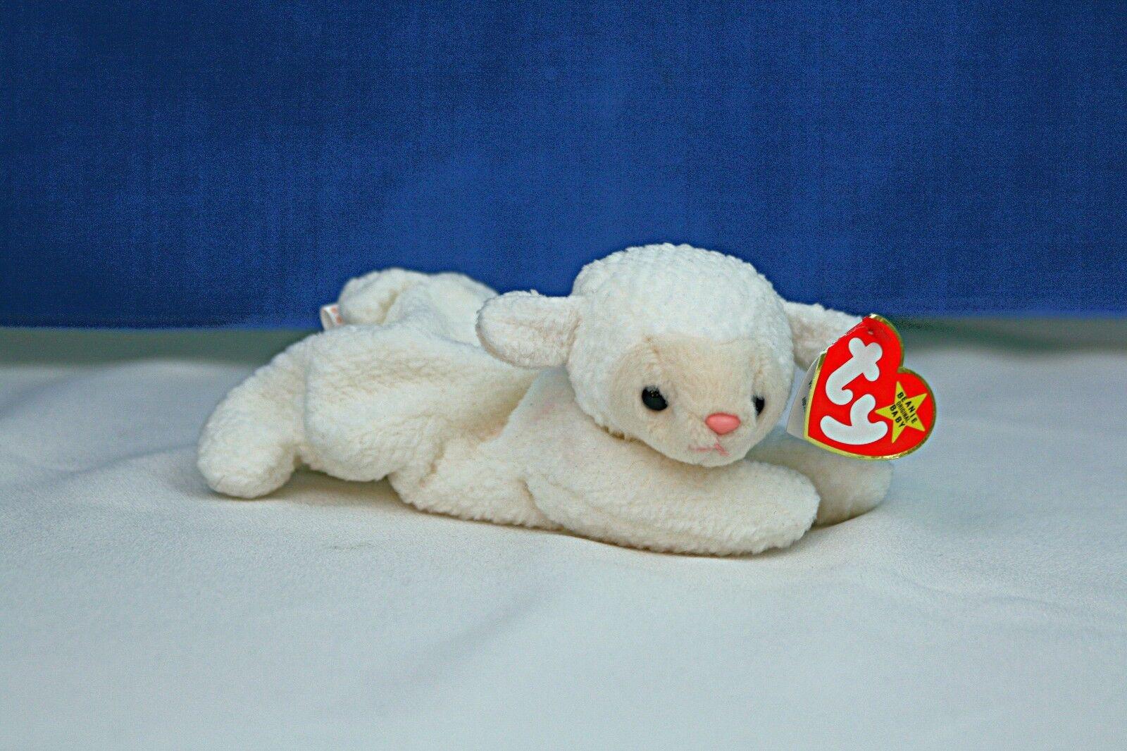 RARE Fleece the Lamb TY Beanie Baby style 4125, 9 errors, from Nurnberg