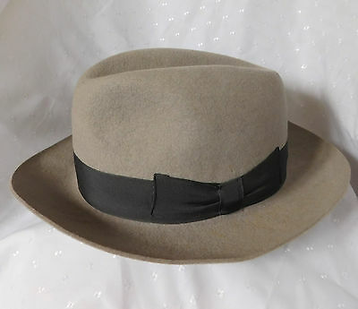 Battersby grey felt hat Sloane 58 cm British size 7 1/8 Large vintage c 1950s
