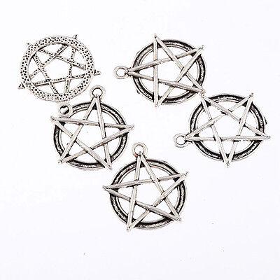 pentagram star Tibetan Silver Bead charms Pendants fit bracelet 5pcs 25x25mm