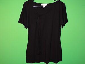 White-House-Black-Market-Womens-Size-M-Medium-Black-Short-Slv-Shirt-Top