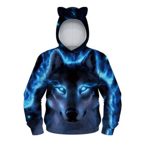 Kids Boys Girl Wolf 3D Printed Hoodie Sweatshirt Coat Hooded Jumper Pullover Top