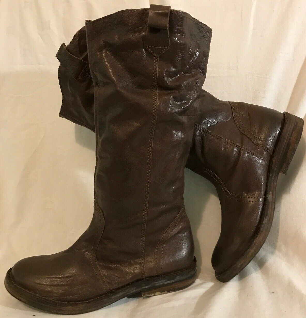 Top Shop Brown Mid Calf Leather Beautiful Boots Size 40 (479v)