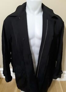 Hugo-Boss-mens-black-trench-coat-jacket-size-50