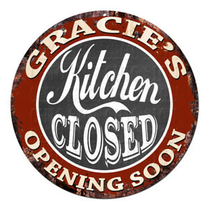 CWKC-0638-GRACIE-039-S-KITCHEN-CLOSED-Chic-Tin-Sign-Decor-Mother-039-s-day-Gift