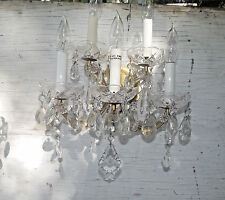 Vintage French Crystal Brass Prism Wall Sconce 5 Light 2 Tier Marie Therese