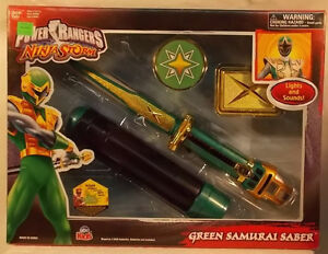 Power Rangers Ninja Storm - Sabre du samouraï vert avec lumières et sons Bandai (misb)