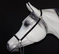 Hand Braided Arabian Style Show Halter, Horse Tack, Black, Swarovski Conchos