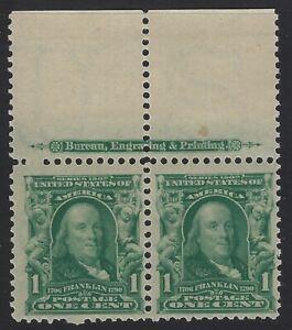 US Stamps - Scott # 300 - Mint OG Never Hinged - Imprint Pair           (H-1066)