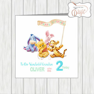 Personalised 1st Birthday Card winnie the pooh card first birthday baby 2nd 3rd