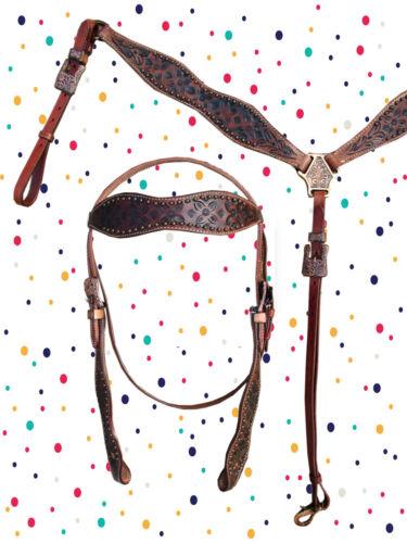 COWBOY HORSE HEADSTALL BREAST COLLAR SET DARK BROWN BARREL TRAIL WESTERN BRIDLE
