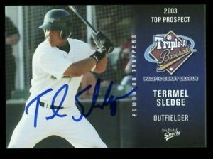2003 Edmonton Trappers TERRMEL SLEDGE Signed Card autograph PADRES NATIONALS