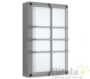 NEW-MERCATOR-FELIX-6w-LED-OUTDOOR-WALL-LIGHT-WITH-GRILL-EXTERIOR-BUNKER-SILVER