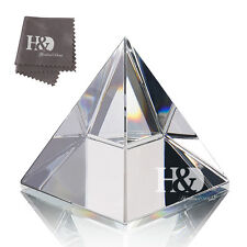 "Large Clear Crystal Glass Pyramid 3.9"" Healing Ornament Office Decor Gift"