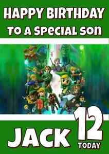 Image Is Loading LEGEND OF ZELDA PERSONALISED BIRTHDAY CARD ANY NAME