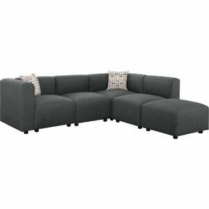 Sensational Details About Lilola Nash Modular Sectional Sofa With Ottoman In Steel Gray Linen Inzonedesignstudio Interior Chair Design Inzonedesignstudiocom
