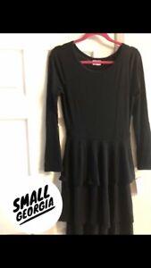 267c3faaae7d9 LuLaRoe S Small Georgia Dress Solid Black 3 Tiered Skirt NWT! | eBay