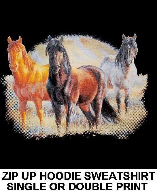 MUSTANG QUARTERHORSE SORREL CHESTNUT BAY DAPPLE grau HORSE ZIP HOODIE SWEATSHIRT