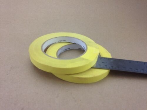 "Lot of 2 Rolls of Shortage Yellow Masking Tape 1//2/"" Ships FREE"