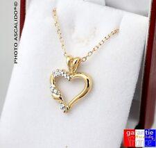 Collier Pour Femme pendentif coeur avec brillants et chaine en plaqué or 18 neuf