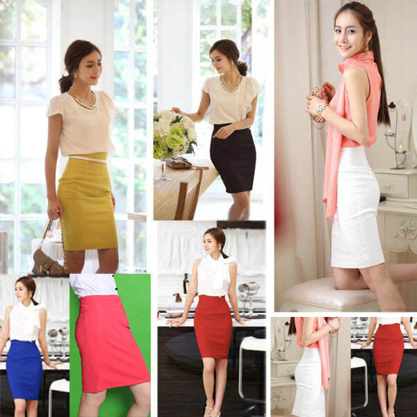 OL Lady High Waist Fit Knee Length Straight Solid Stretch Business Pencil Skirt